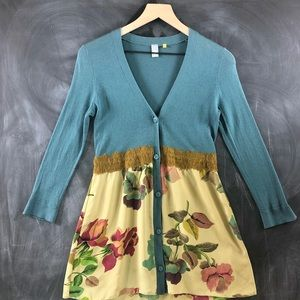Knitted & Knotted Anthropologie Cardigan Floral